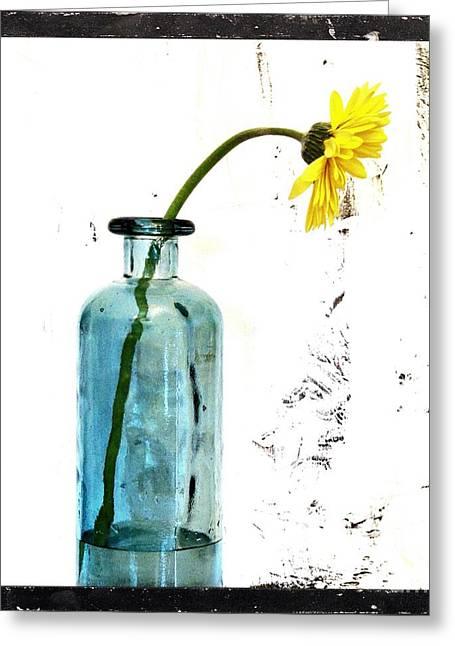 Seaglass Greeting Cards - Shabbi Chic Daisy Greeting Card by Marsha Heiken