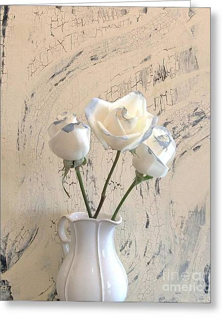 Still Life With Pitcher Greeting Cards - Shabbi Chic Roses Greeting Card by Marsha Heiken