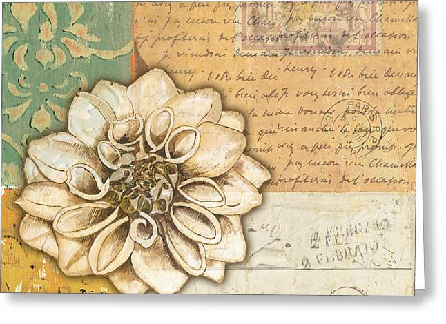 Plant Greeting Cards - Shabby Chic Floral 1 Greeting Card by Debbie DeWitt