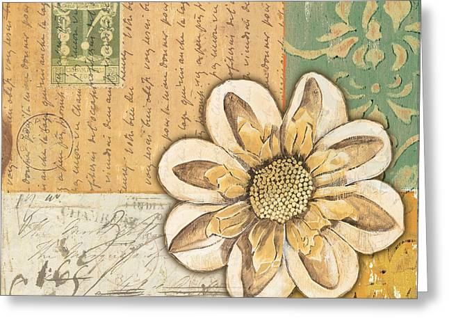 Flowers Paintings Greeting Cards - Shabby Chic Floral 2 Greeting Card by Debbie DeWitt