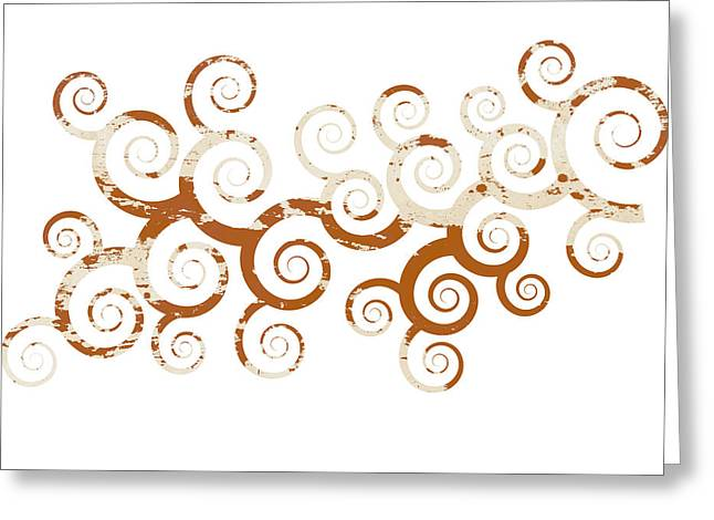 Swirly Abstract Greeting Cards - Shabby Ornament Greeting Card by Frank Tschakert