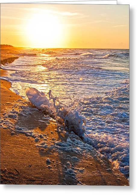 Waves Splash Greeting Cards - Shackleford Banks Sunrise Greeting Card by Betsy C  Knapp