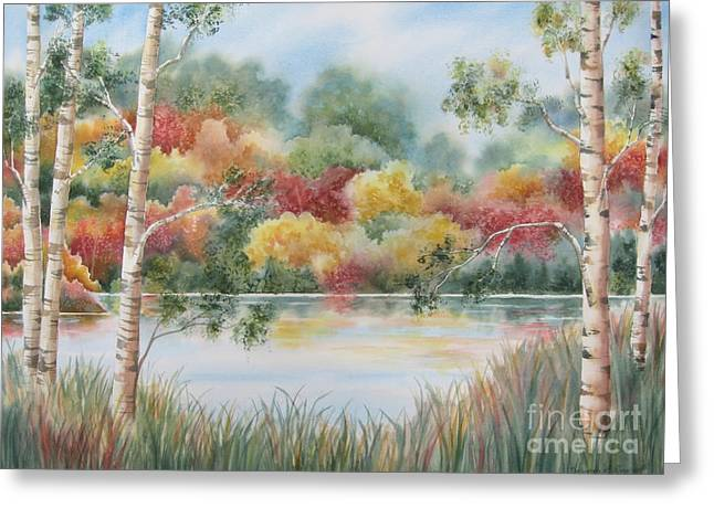 Autumn Landscape Paintings Greeting Cards - Shades of Autumn Greeting Card by Deborah Ronglien