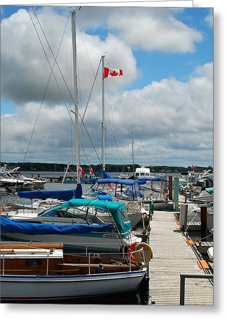 Boats At Dock Greeting Cards - Shades of Blue Greeting Card by Rebecca Christenson