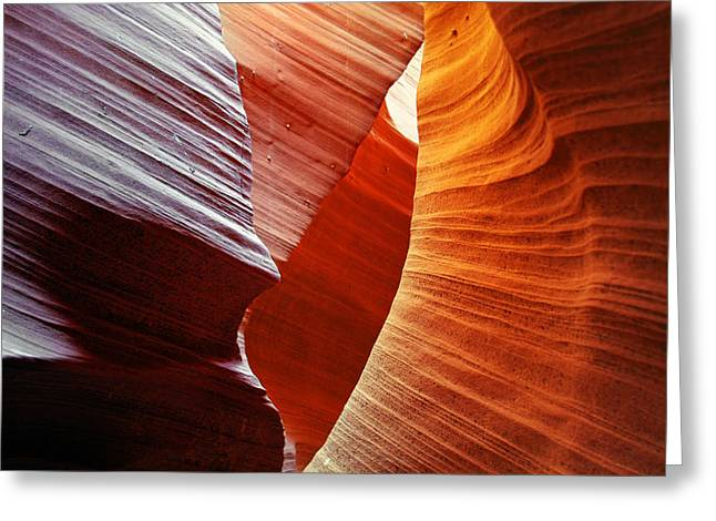 Textures Greeting Cards - Shades of red - Antelope Canyon AZ Greeting Card by Christine Till