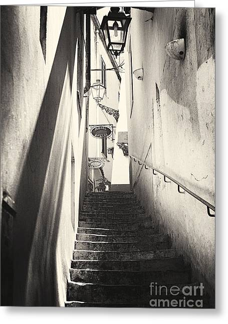 Alley Stairs Greeting Cards - Shadow and Light on the Stairs in Amalfi Greeting Card by George Oze