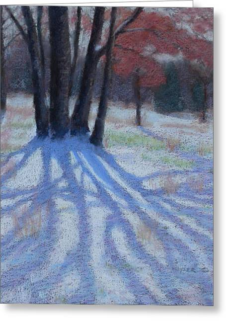 Snowscape Pastels Greeting Cards - Shadow Catcher Greeting Card by Julie Mayser