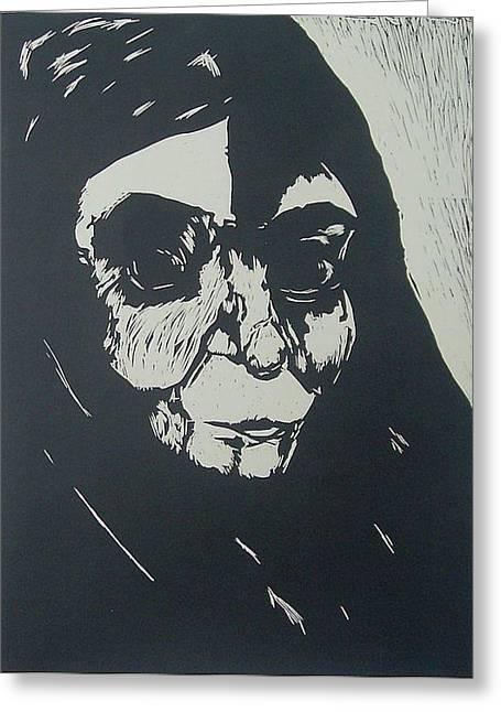Linocut Drawings Greeting Cards - Shadow Greeting Card by Nesli Sisli