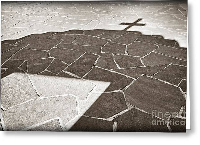 Taos Greeting Cards - Shadow of a Mission Arch Greeting Card by Bryan Mullennix