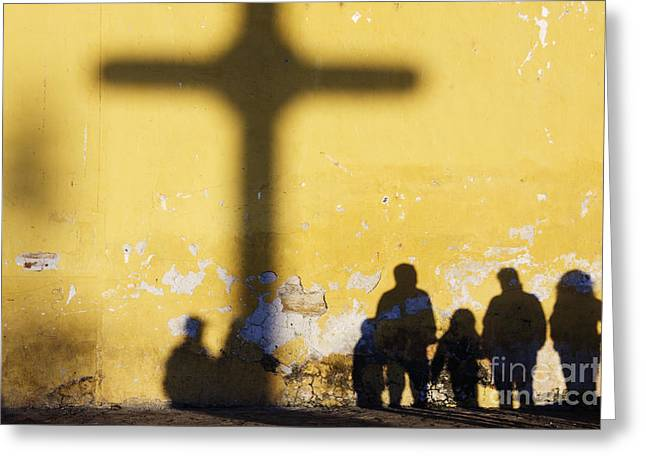 Casting A Shadow Greeting Cards - Shadow of Cross and People Greeting Card by Jeremy Woodhouse