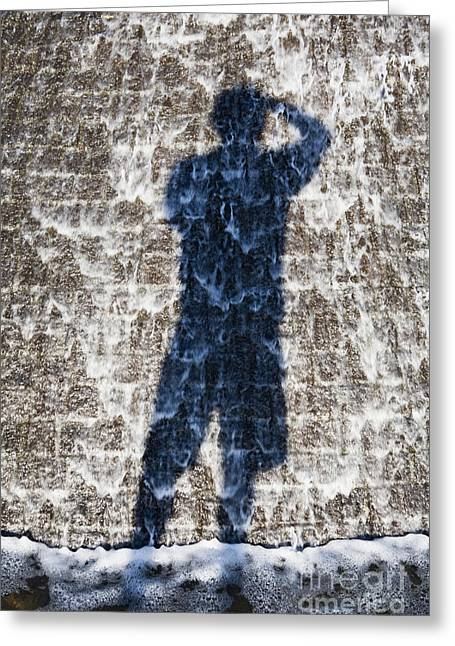 Flowing Fountain Greeting Cards - Shadow of Photographer Taking Picture Greeting Card by Paul Edmondson
