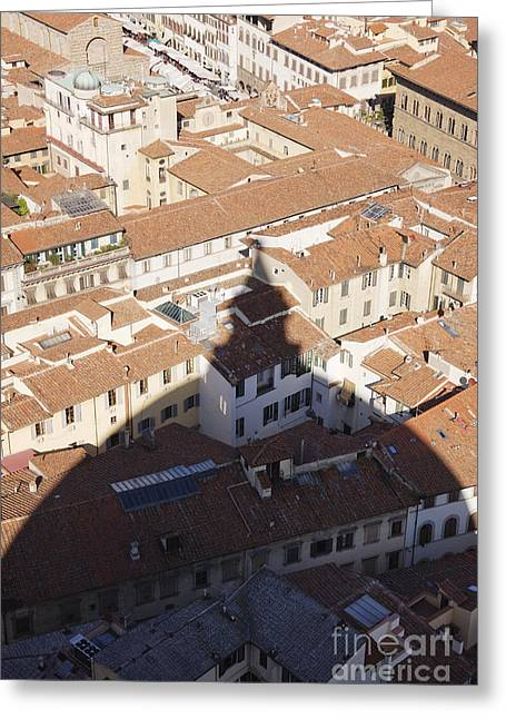 Office Space Photographs Greeting Cards - Shadow of the Duomo on Buildings of Florence Greeting Card by Jeremy Woodhouse