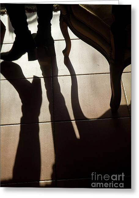 Only Mature Women Greeting Cards - Shadow of womans foot and furniture on floor Greeting Card by Sami Sarkis