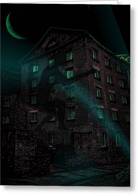 Spooky House Greeting Cards - Shadow on the Wall Greeting Card by Mimulux patricia no