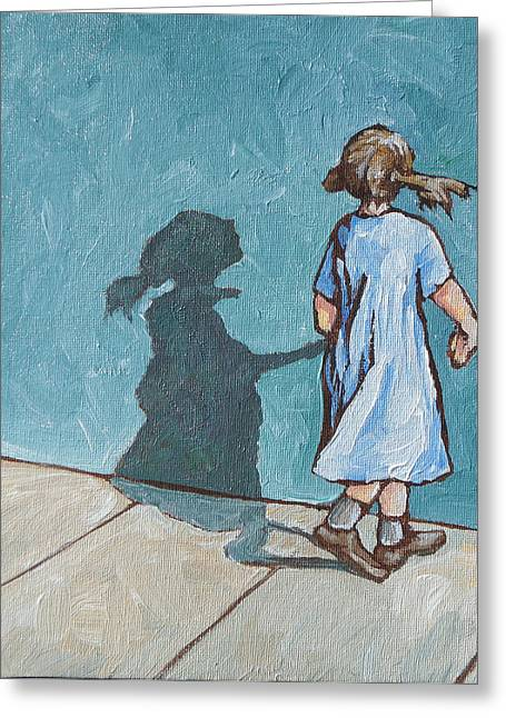 Shadow Play Greeting Card by Sandy Tracey