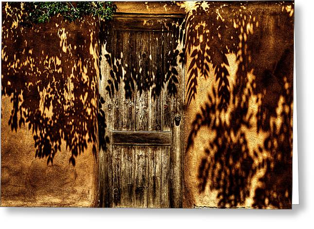 Taos Greeting Cards - Shadowed Door Greeting Card by David Patterson