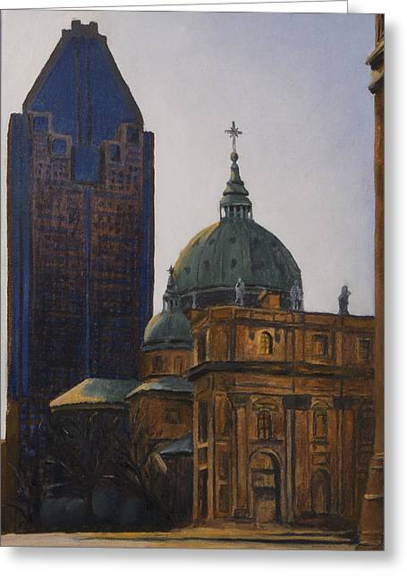Montreal Urban Landscapes Greeting Cards - Shadowed Greeting Card by Duane Gordon
