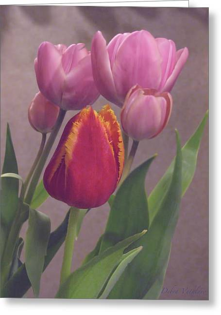 Stimulating Colored Flower Greeting Cards - Shadowing Beauties Greeting Card by Debra     Vatalaro