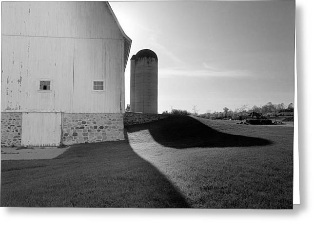 Barn And Silo Greeting Cards - Shadows at Eble Park Greeting Card by Jan Faul