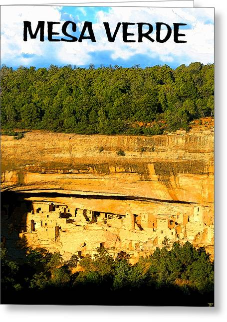 Historic Site Digital Greeting Cards - Shadows at Mesa Verde  Greeting Card by David Lee Thompson