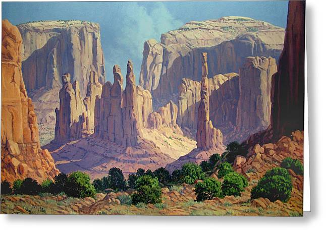 Shadows In The Valley Greeting Card by Randy Follis