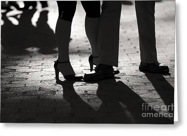 Shadows of Tango Greeting Card by Leslie Leda