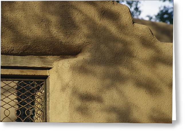 Art Of Building Greeting Cards - Shadows On An Adobe Building In Santa Greeting Card by Gina Martin