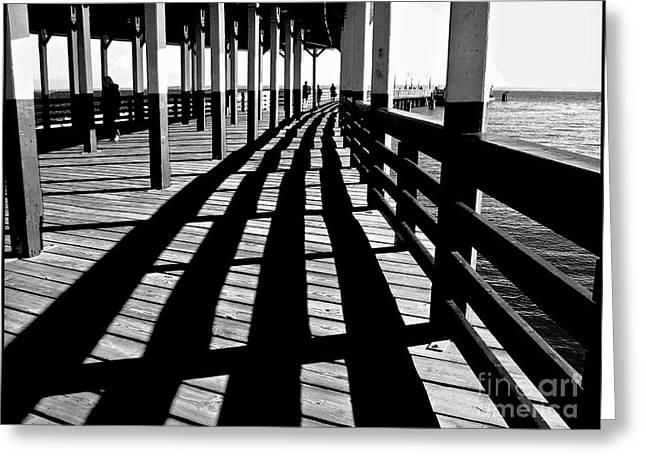 Historic Bridge Photographs Digital Greeting Cards - Nostalic Walk on the Pier Greeting Card by Carol F Austin