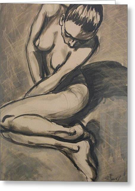 Shadows On The Sand1 - Nudes Gallery Greeting Card by Carmen Tyrrell