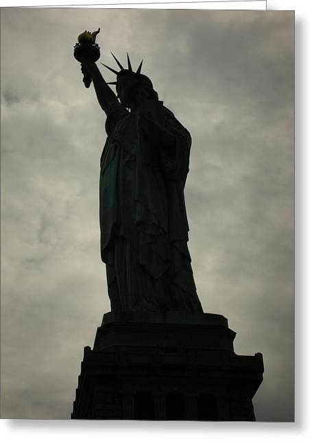 Libertas Greeting Cards - Shadowy Statue of Liberty Greeting Card by Kelsey Horne