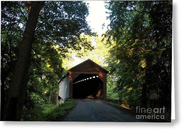 Covered Bridge Greeting Cards - Shady Bridge Greeting Card by Joyce Kimble Smith