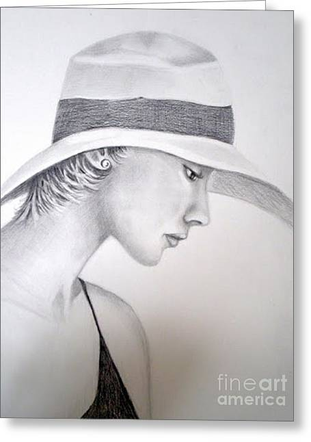 Straw Hat Drawings Greeting Cards - Shady Lady Greeting Card by Barbra Joan