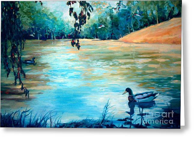 Fed Greeting Cards - Shady Springs Pond Greeting Card by Gretchen Allen