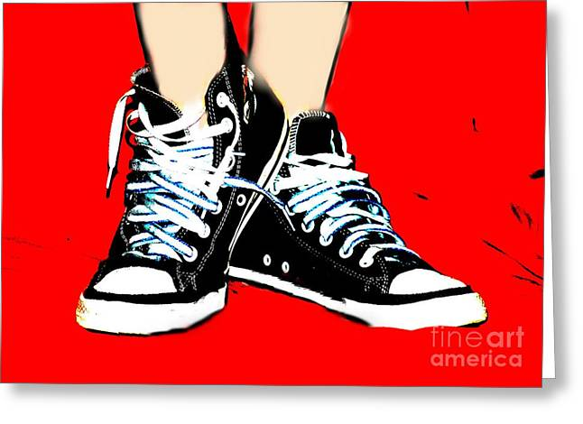 Conversing Digital Art Greeting Cards - Shaes Sneaks Greeting Card by Lynn Reid