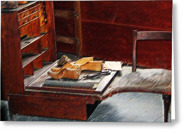 Out-of-date Digital Art Greeting Cards - Shaker Shoe Shop Greeting Card by Steve Ohlsen
