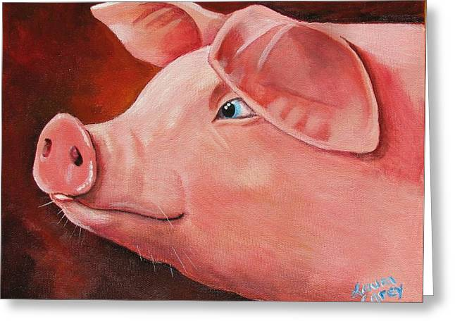 Piglets Greeting Cards - Shakespear Greeting Card by Laura Carey