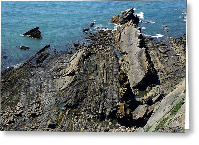 Shale Greeting Cards - Shale Coastline Greeting Card by Dr Keith Wheeler