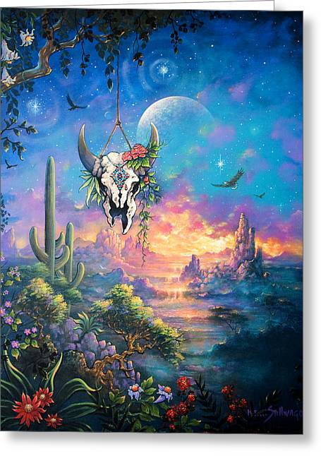 Datura Paintings Greeting Cards - Shamans Dream Greeting Card by Keith Stillwagon