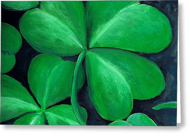 Clover Greeting Cards - Shamrocks Greeting Card by Nancy Mueller
