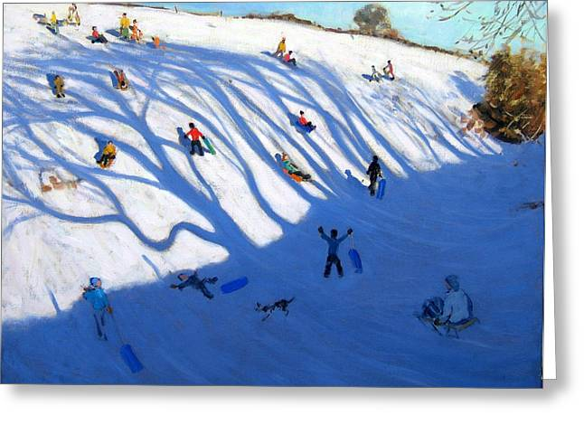 Shandows On A Hill Monyash Greeting Card by Andrew Macara