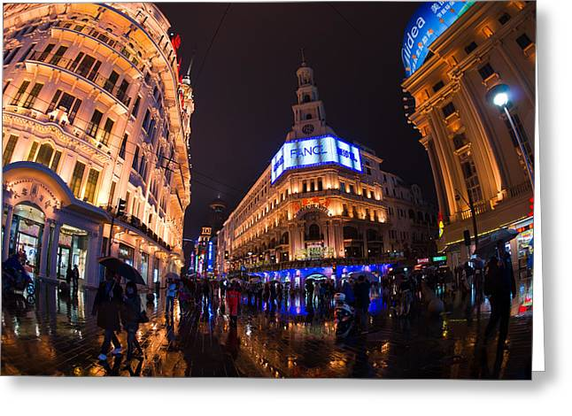 Bund Shanghai Greeting Cards - Shanghai By Night Greeting Card by Peter Verdnik