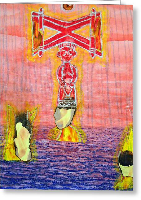 African-american Mixed Media Greeting Cards - Shango Greeting Card by Duwayne Washington