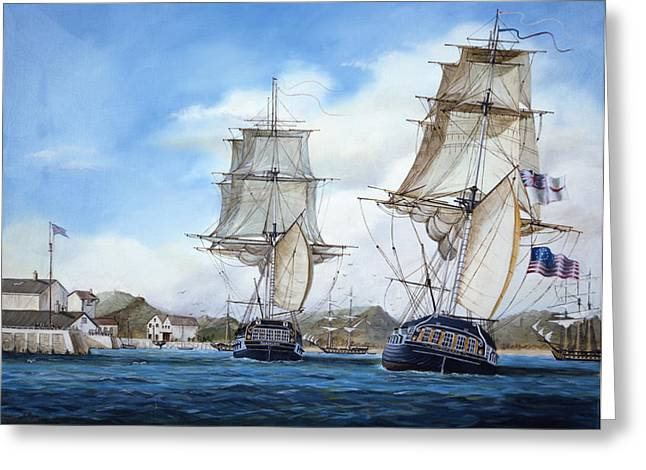 Square Rigger Greeting Cards - Shannon and Chesapeake Greeting Card by Laurie Bath