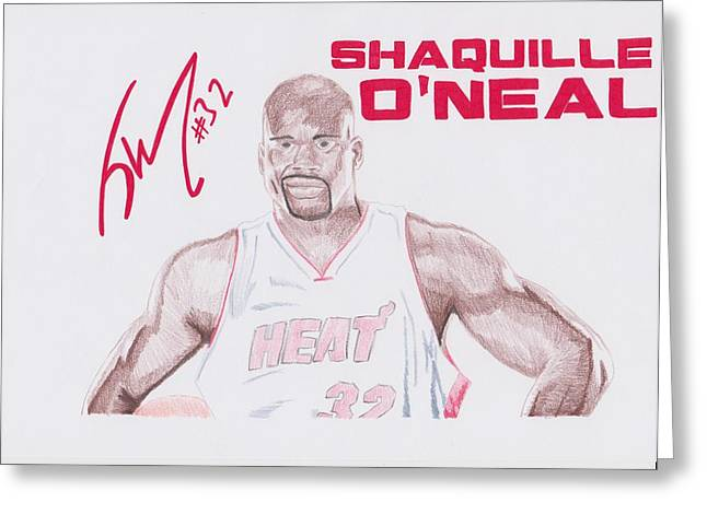 Boston Celtics Drawings Greeting Cards - Shaquille ONeal Greeting Card by Toni Jaso
