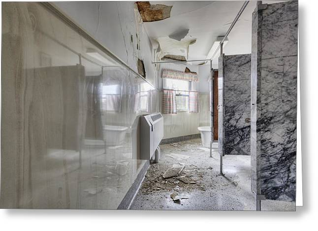 Residential Structure Greeting Cards - Shared Bath In Group Home Damaged Greeting Card by Douglas Orton