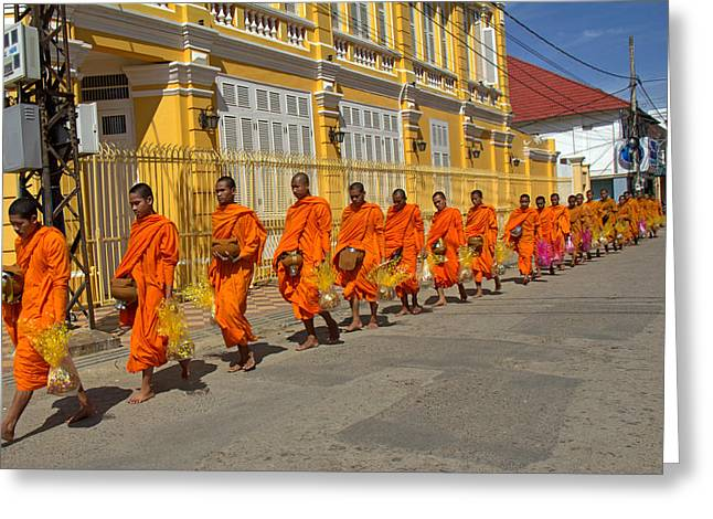 Cambodia Greeting Cards - Sharing food with Buddhist monks  Greeting Card by Nabil Kannan
