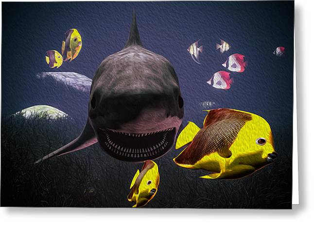 Oceano Greeting Cards - Shark and fishes Greeting Card by Ramon Martinez