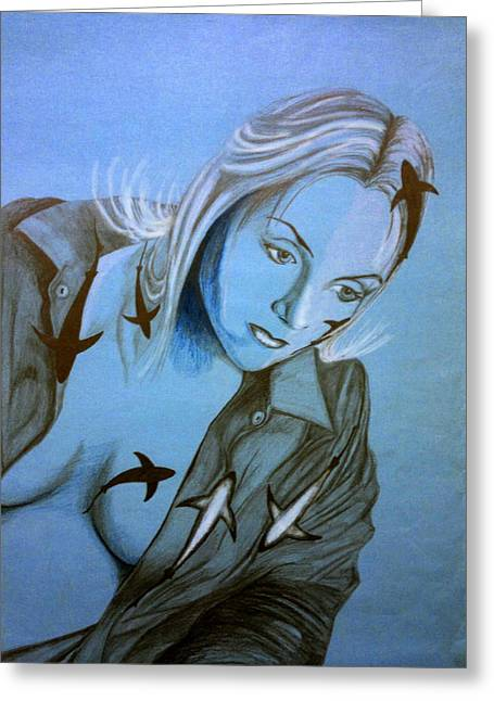 White Shark Drawings Greeting Cards - Shark Girl Greeting Card by Stanislav Ballok