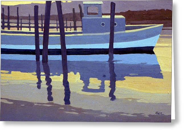 Lobster Paintings Greeting Cards - Shark River Lobster Boat Greeting Card by Donald Maier