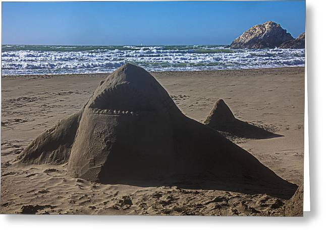 Sandy Beaches Greeting Cards - Shark sand sculpture Greeting Card by Garry Gay